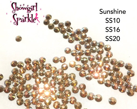 Sunshine Flatback Glass Rhinestones, 1 gross (144 stones) Non-hotfix, in sizes SS10, SS16 and SS20