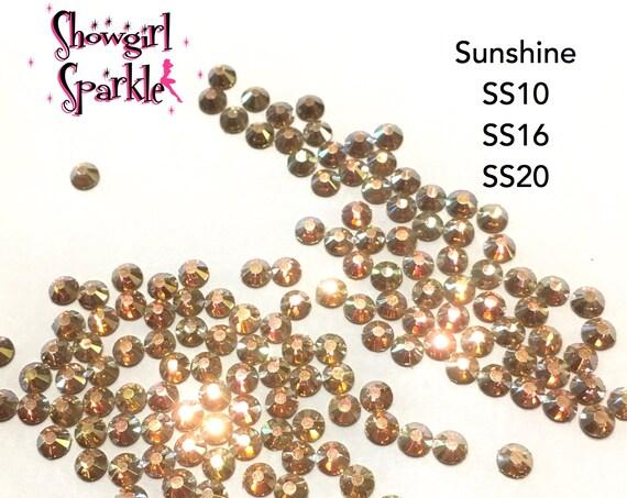 Sunshine Flatback Glass Rhinestones, 1 gross (144 stones) Non-hotfix, in sizes SS10, SS16 and SS20