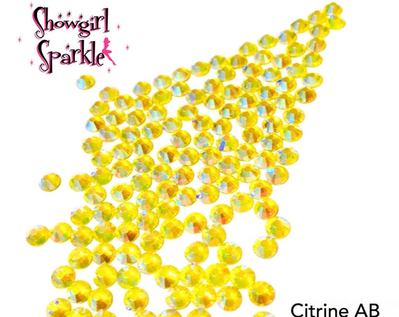 Citrine AB Flatback Glass Rhinestones, 1 gross (144 stones) Non-hotfix, in sizes SS10 and SS16