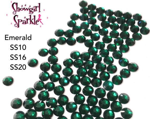 Emerald Flatback Glass Rhinestones, 1 gross (144 stones) Non-hotfix, in sizes SS10, SS16 and SS20