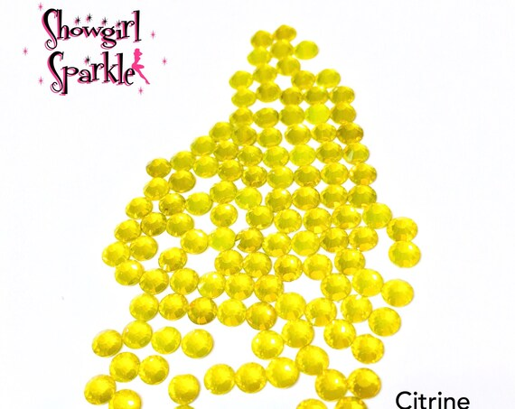 Citrine Flatback Glass Rhinestones, 1 gross (144 stones) Non-hotfix, in sizes SS10 and SS16