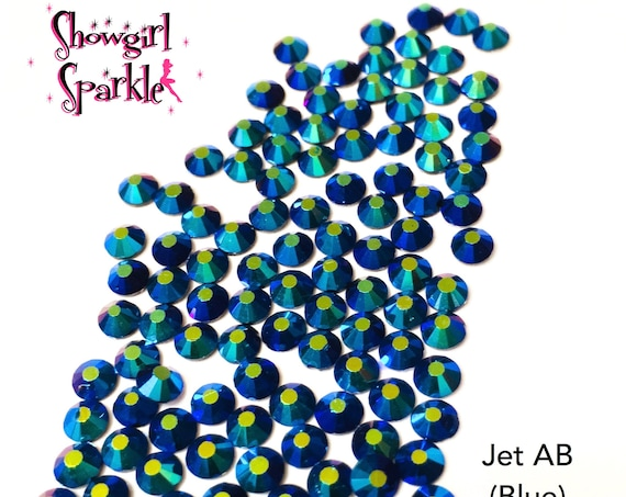 Jet AB (Blue) Flatback Glass Rhinestones, 1 gross (144 stones) Non-hotfix, in sizes SS10 and SS16