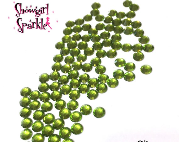 Olive Flatback Glass Rhinestones, 1 gross (144 stones) Non-hotfix, in sizes SS10 and SS16