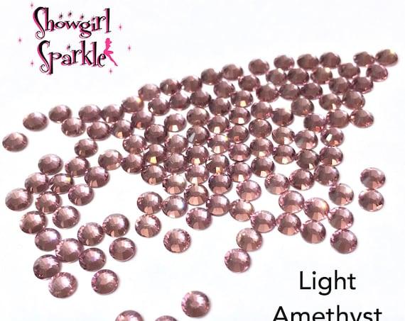 Light Amethyst Flatback Glass Rhinestones, 1 gross (144 stones) Non-hotfix, in sizes SS10 and SS16