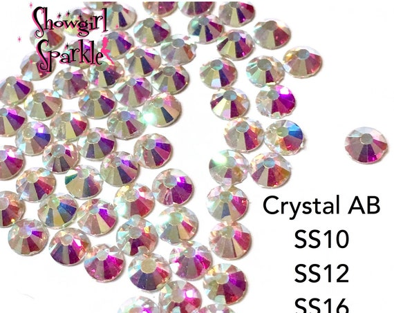 Crystal AB Flatback Glass Rhinestones, 1 gross (144 stones) Non-hotfix, in sizes SS10, SS12, SS16, SS20 or SS30
