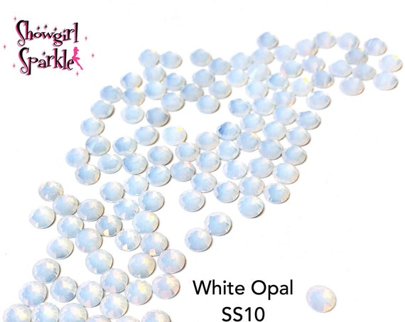 White Opal Flatback Glass Rhinestones, 1 gross (144 stones) Non-hotfix, in sizes SS10, SS16 and SS20