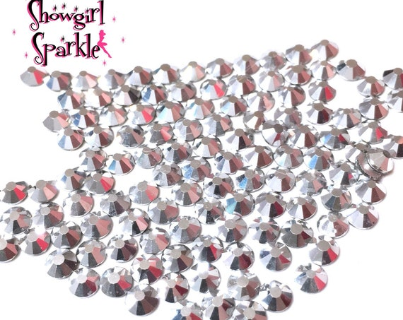 Mine Silver Flatback Glass Rhinestones, 1 gross (144 stones) Non-hotfix, in sizes SS10 and SS16