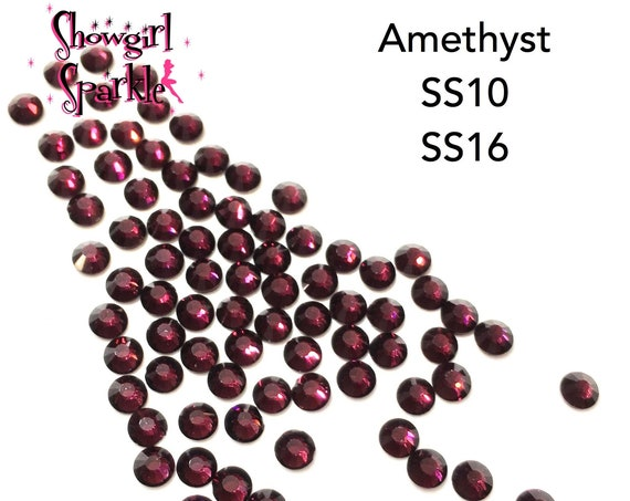 Amethyst Flatback Glass Rhinestones, 1 gross (144 stones) Non-hotfix, in sizes SS10 and SS16