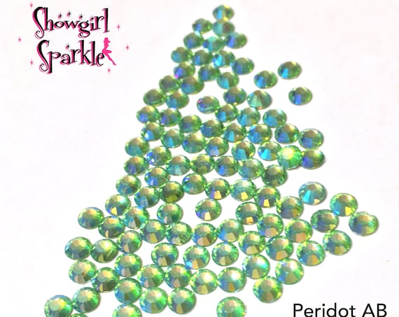 Peridot AB Flatback Glass Rhinestones, 1 gross (144 stones) Non-hotfix, in sizes SS10 and SS16