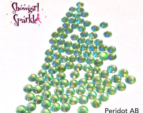 Peridot AB Flatback Glass Rhinestones, 1 gross (144 stones) Non-hotfix, in sizes SS10 and SS16