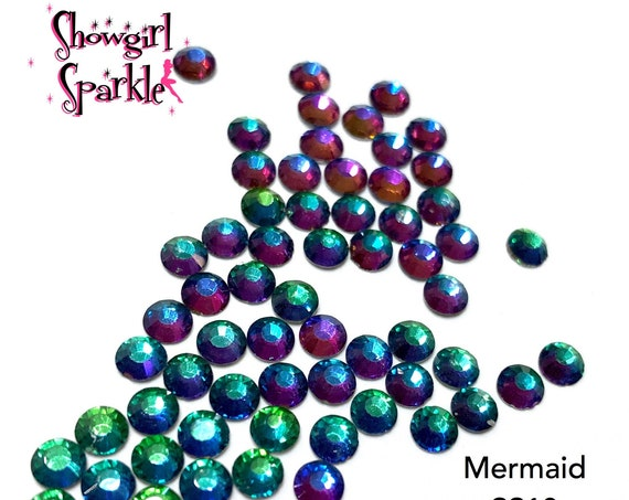 Mermaid Flatback Glass Rhinestones, 1 gross (144 stones) Non-hotfix, in sizes SS10, SS16 or SS20