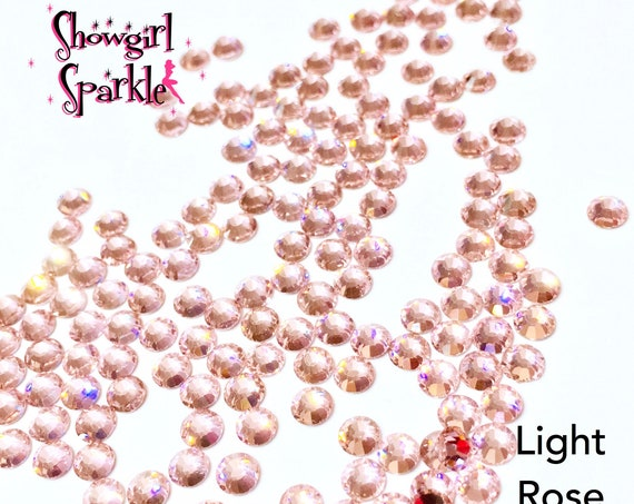 Light Rose Flatback Glass Rhinestones, 1 gross (144 stones) Non-hotfix, in sizes SS10 and SS16