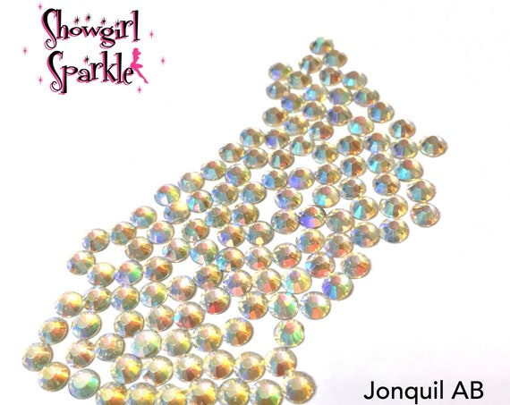 Jonquil AB Flatback Glass Rhinestones, 1 gross (144 stones) Non-hotfix, in sizes SS10 and SS16