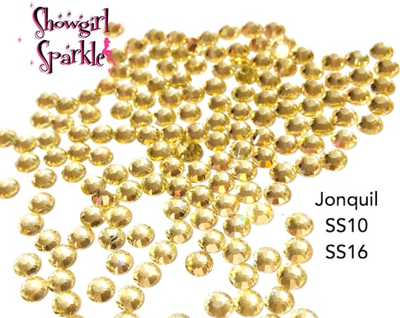 Jonquil Flatback Glass Rhinestones, 1 gross (144 stones) Non-hotfix, in sizes SS10 and SS16