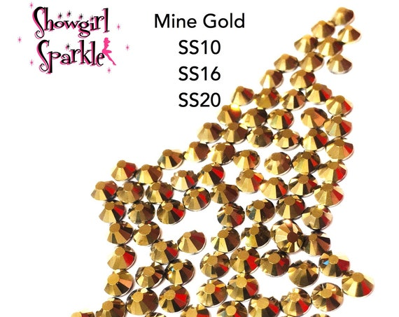 Mine Gold Flatback Glass Rhinestones, 1 gross (144 stones) Non-hotfix, in sizes SS10, SS16 and SS20