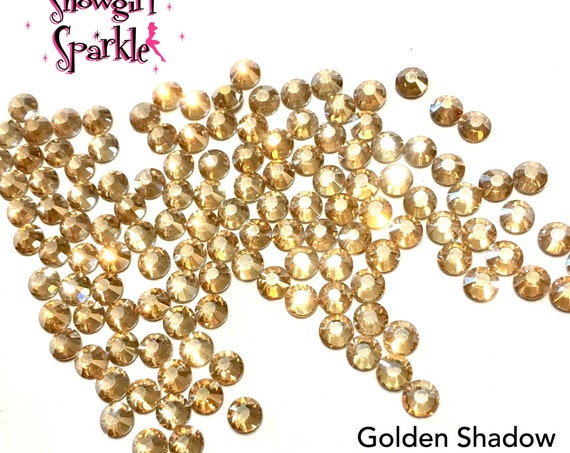 Golden Shadow Flatback Glass Rhinestones, 1 gross (144 stones) Non-hotfix, in sizes SS10 and SS16