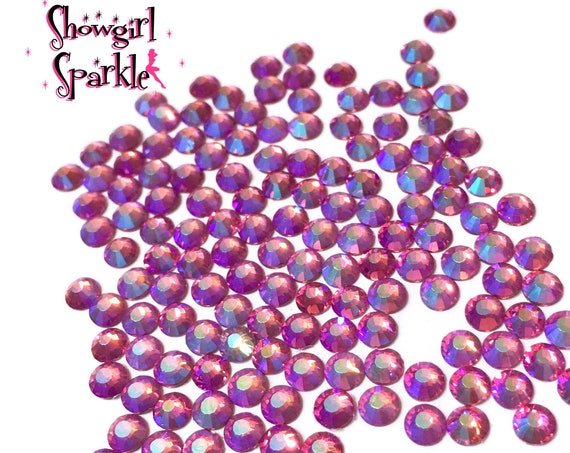 Rose AB Flatback Glass Rhinestones, 1 gross (144 stones) Non-hotfix, in sizes SS10 and SS16