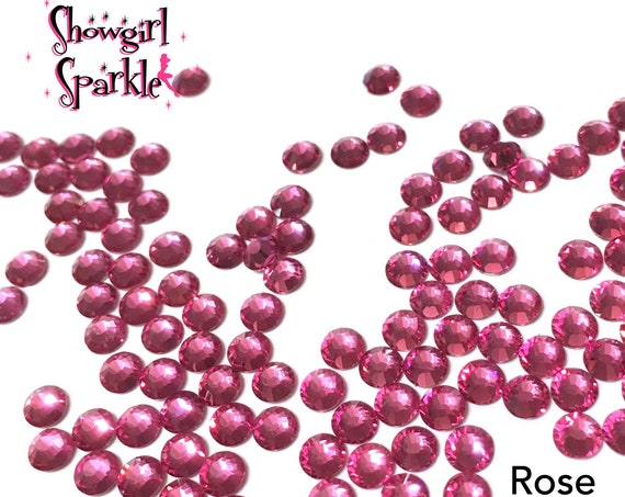 Rose Flatback Glass Rhinestones, 1 gross (144 stones) Non-hotfix, in sizes SS10 and SS16