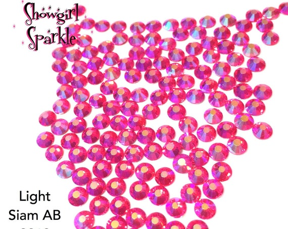 Light Siam AB Flatback Glass Rhinestones, 1 gross (144 stones) Non-hotfix, in sizes SS12, SS16 and SS20