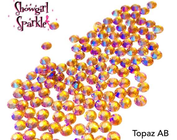 Topaz AB Flatback Glass Rhinestones, 1 gross (144 stones) Non-hotfix, in sizes SS10 and SS16