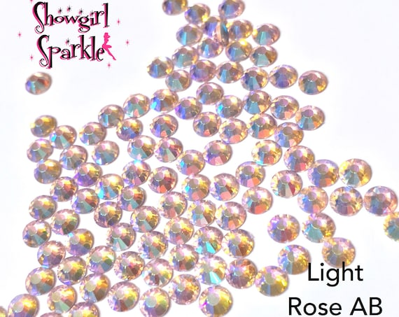 Light Rose AB Flatback Glass Rhinestones, 1 gross (144 stones) Non-hotfix, in sizes SS10 and SS16