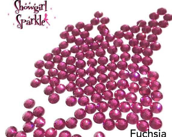 Fuchsia Flatback Glass Rhinestones, 1 gross (144 stones) Non-hotfix, in sizes SS10 and SS16