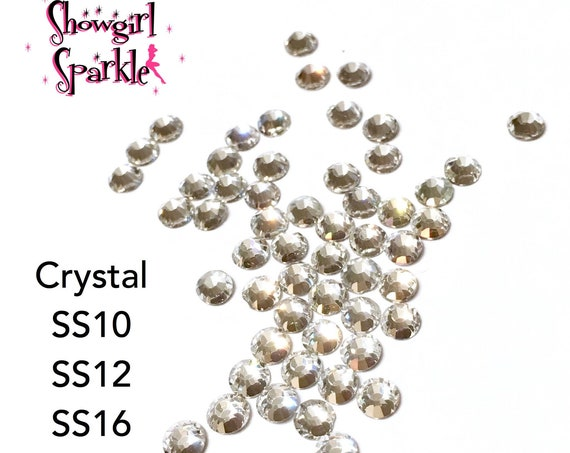 Crystal Flatback Glass Rhinestones, 1 gross (144 stones) Non-hotfix, in sizes SS10, SS12, SS16, SS20 or SS30