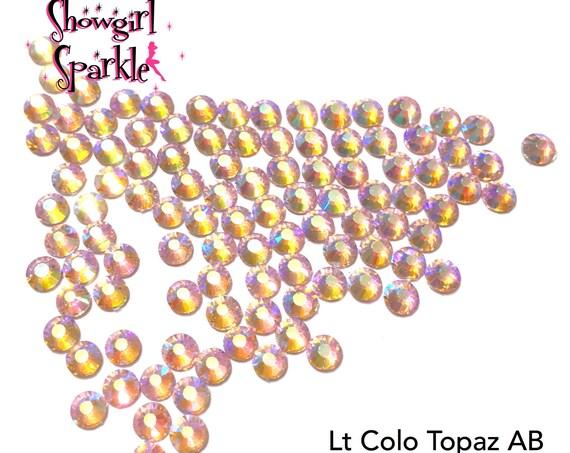 Light Colorado Topaz AB Flatback Glass Rhinestones, 1 gross (144 stones) Non-hotfix, in sizes SS10 and SS16