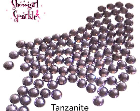 Tanzanite Flatback Glass Rhinestones, 1 gross (144 stones) Non-hotfix, in sizes SS10 and SS16