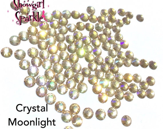 Crystal Moonlight Flatback Glass Rhinestones, 1 gross (144 stones) Non-hotfix, in sizes SS10 and SS16