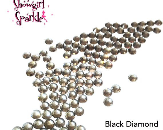 Black Diamond Flatback Glass Rhinestones, 1 gross (144 stones) Non-hotfix, in sizes SS10 and SS16