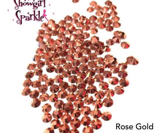 Rose Gold Flatback Glass Rhinestones, 1 gross (144 stones) Non-hotfix, in sizes SS10 and SS16
