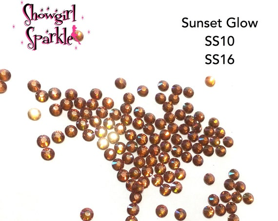 Sunset Glow Flatback Glass Rhinestones, 1 gross (144 stones) Non-hotfix, in sizes SS10 and SS16