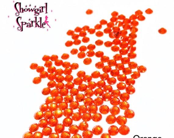 Orange Flatback Glass Rhinestones, 1 gross (144 stones) Non-hotfix, in sizes SS10 and SS16