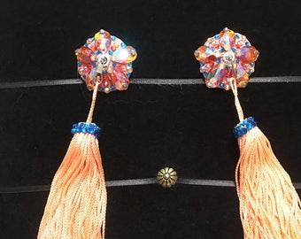 Orange AB Rosette Crystal Rhinestone Burlesque Pasties with Chainette Tassels