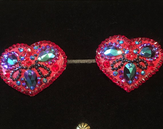 Heart's Content Heart-shaped Siam Red Crystal Rhinestone Burlesque Pasties