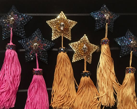 Five-Point Star - Single or Dual Colour Rhinestone  Star-shaped Burlesque Pasties with Super Spinners and Tassels