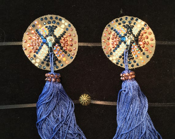 Navy Rose Gold Argyle Crystal Rhinestone Illusion Burlesque Pasties with Chainette Tassels