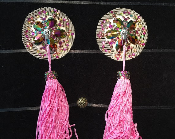 Fuchsia Copper Crystal Rhinestone Floating Illusion Burlesque Pasties with Chainette Tassels