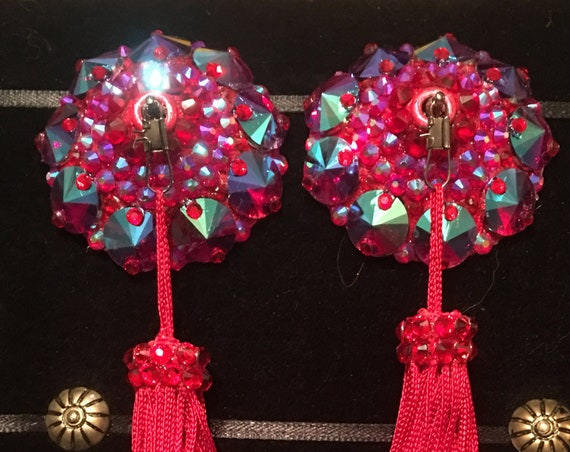 The Empress Siam AB Crystal Rhinestone Burlesque Pasties with Chainette Tassels