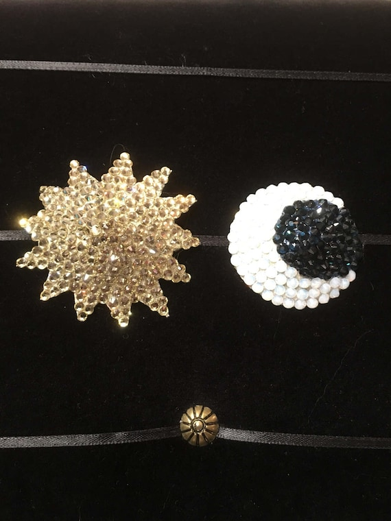 Celestial Sun and Moon Rhinestone Burlesque Pasties
