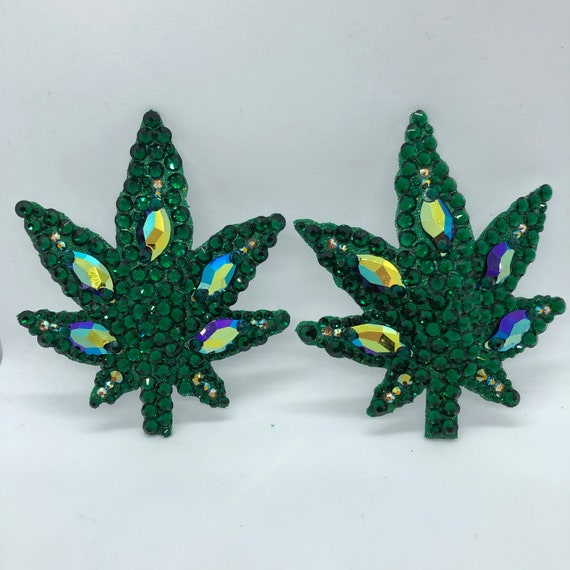 Cannabis Leaf Crystal Rhinestone Burlesque Pasties