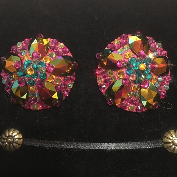 Fuschia Tropical Crystal Rhinestone Burlesque Pasties