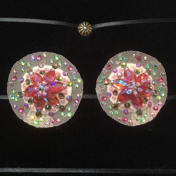 Pink Dahlia Crystal Rhinestone Illusion Burlesque Pasties