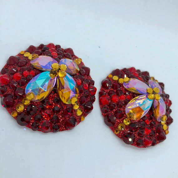 Ruby Topaz Crystal Rhinestone Burlesque Pasties