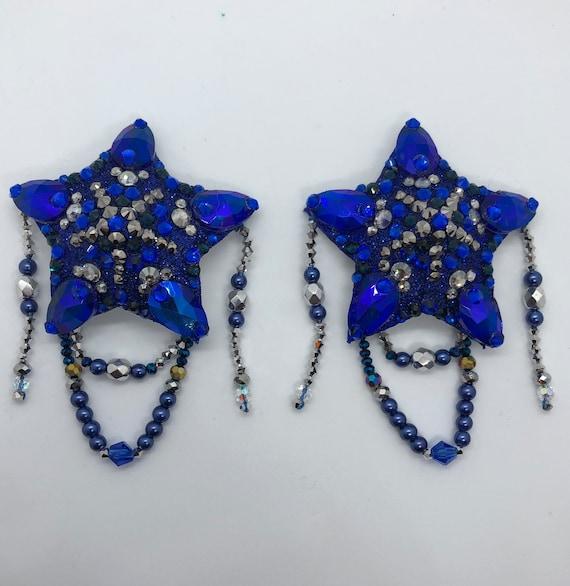 Beaded Sapphire Stars Rhinestone Burlesque Pasties