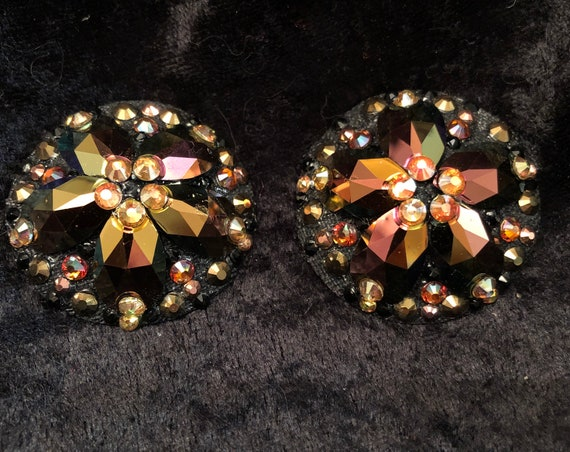 Black and Gold Crystal Rhinestone Burlesque Pasties