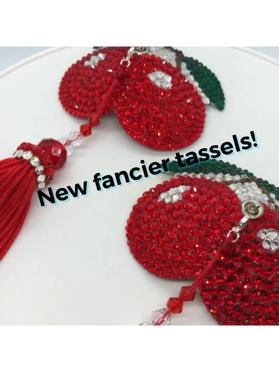 Pair of Cherries Rhinestone Burlesque Pasties, with or without tassels