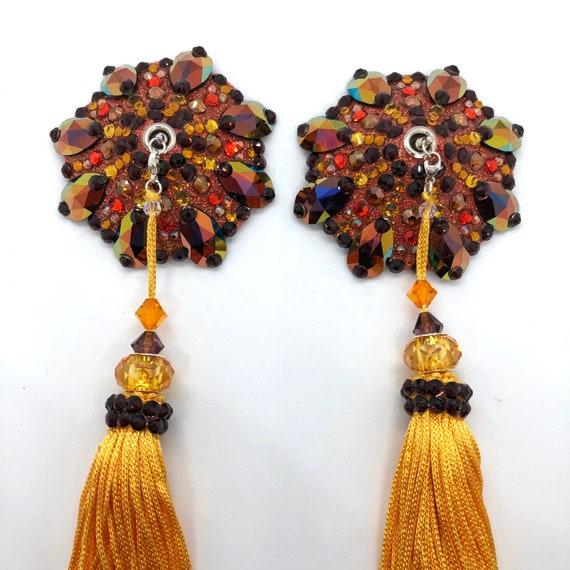 Swarovski Fiesta Rhinestone Burlesque Pasties with Beaded Fringe Tassels