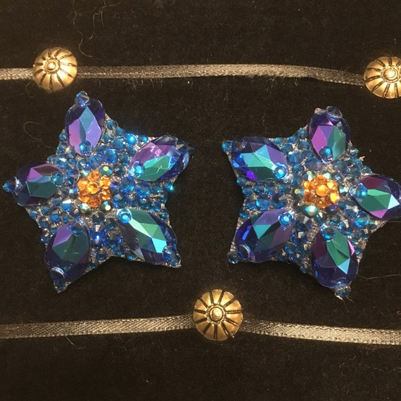 Custom Sapphire Stars Rhinestone Bujrning Man Pasties